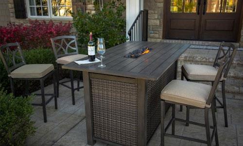Agio Davenport Bar Height Fire Pit Table