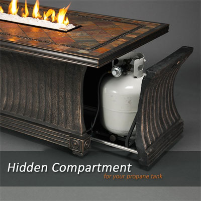 Agio Vienna Fire Pit Pull-Out Hidden Compartment for Propane Gas Tank Under Table