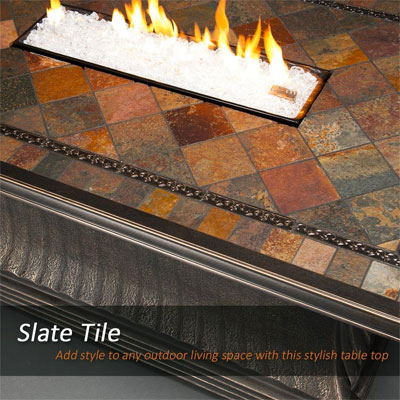 Slate Tabletop of Agio Vienna Fire Pit Table with Fire Bowl Flames