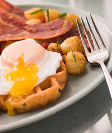 Bacon, Egg and Waffle Breakfast on a Plate