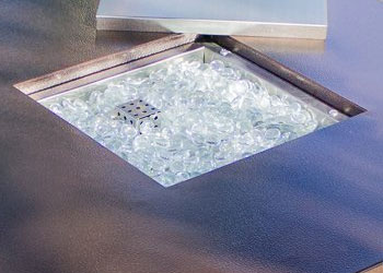 Clear Fire Glass in Hammered Bronze Fire Pit Table