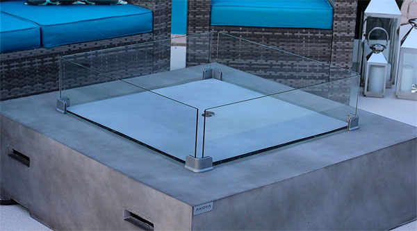 Akoya Concrete Fire Pit Table With Fire Bowl Cover