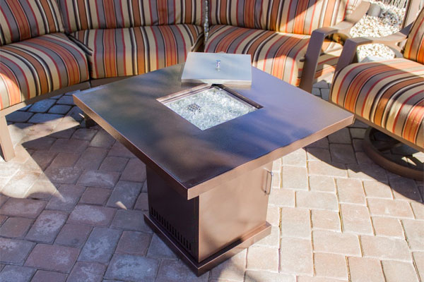 Hammered Bronze Fire Pit Table on Patio