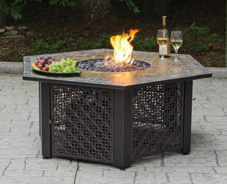 Captivating Hexagon Fire Pit Table In Backyard