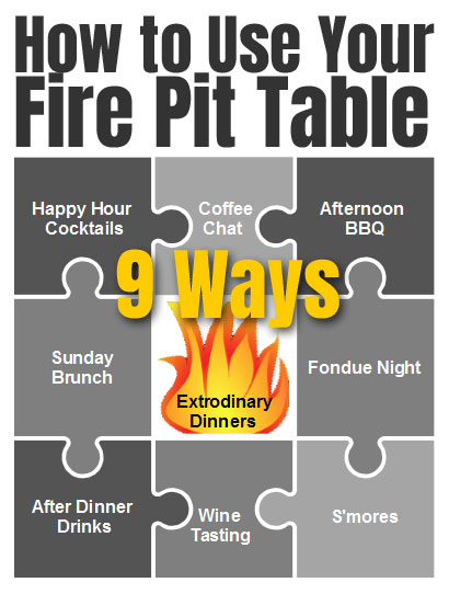 How to Use Your Fire Pit Table - 9 Different Ways, Including Wine Tasting, Sunday Brunch, Happy Hour Cocktails, Making S'mores, Coffee Chat and More
