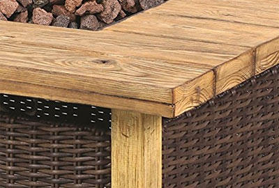 Close Up of Faux Wood and Wicker of Key Largo Fire Pit Table