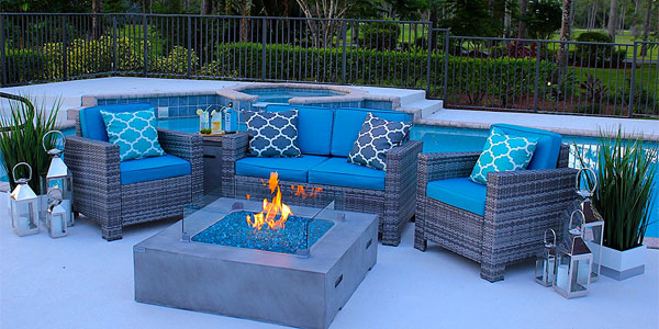Poolside Outdoor Room with Concrete Fire Pit Table
