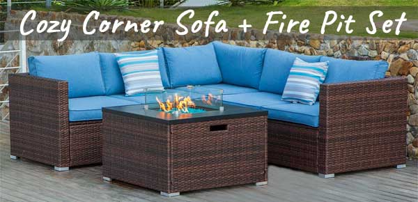 Rattan Corner Sofa With Fire Pit How, Dineli Patio Furniture Sectional Sofa With Gas Fire Pit Table
