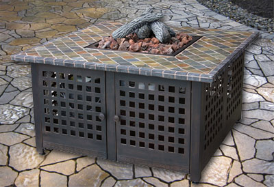Outdoor Fire Pit Table with Slate Table Tiles