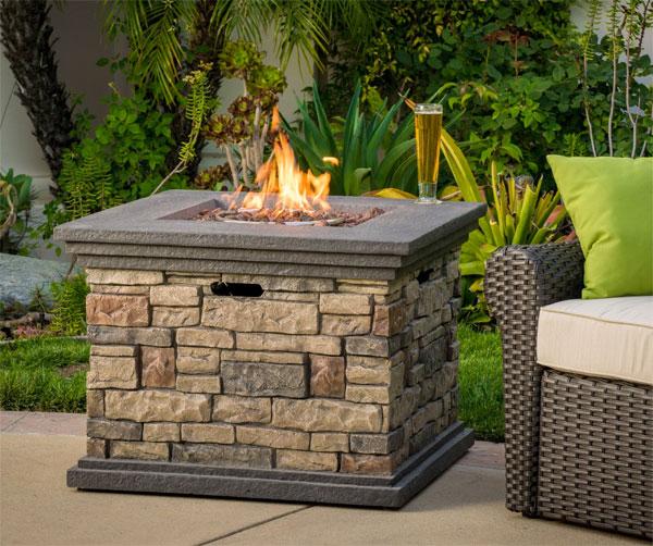 Square Stone Fire Pit Table, Propane