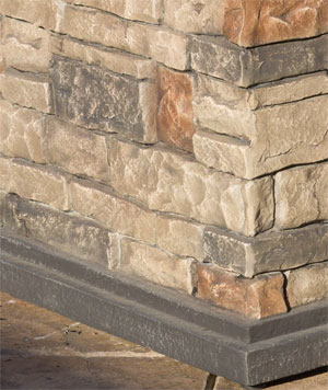Faux Stone Surround of Crawford Square Stone Fire Pit Table