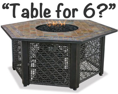 Hexagon Fire Pit Table for 6