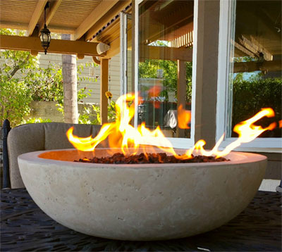 Attractive Tabletop Fire Bowl Up Close With Flames