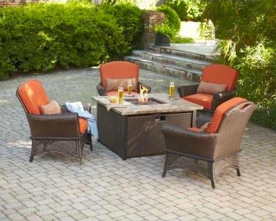 Wicker Fire Pit Table Set