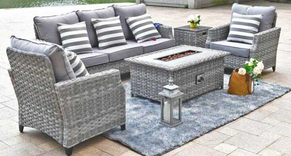 Wicker Garden Furniture With Fire Pit, Grey Rattan Garden Furniture With Fire Pit Table